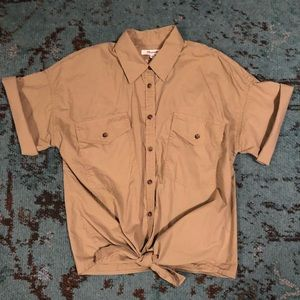 Madewell Embroidered Back Tie-Front Button Down